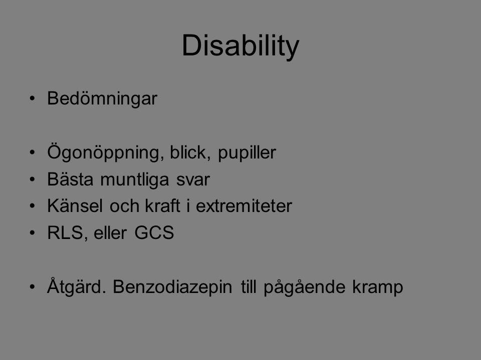 Disability Bedömningar Ögonöppning, blick, pupiller