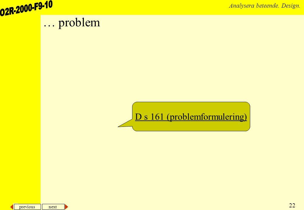 D s 161 (problemformulering)