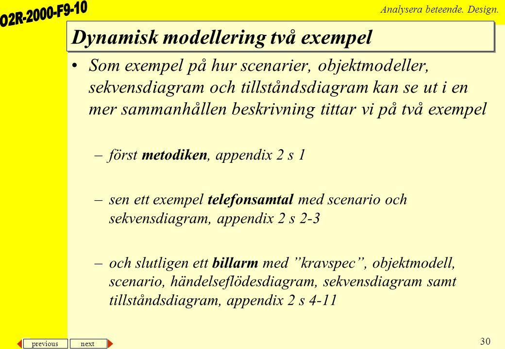 Dynamisk modellering två exempel
