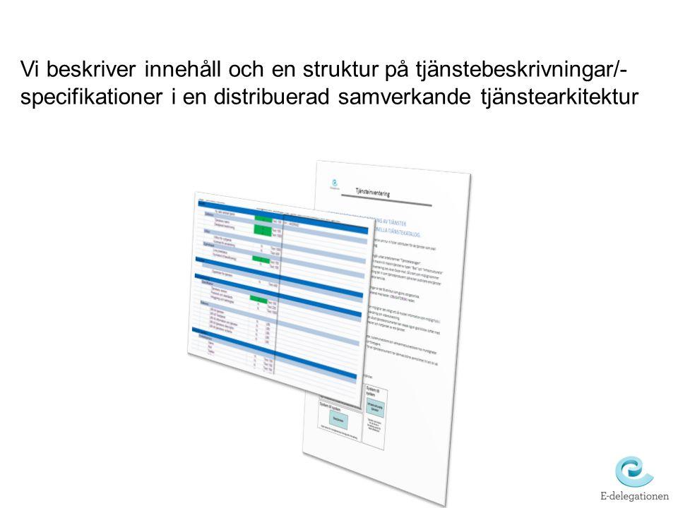 Vi beskriver innehåll och en struktur på tjänstebeskrivningar/-specifikationer i en distribuerad samverkande tjänstearkitektur