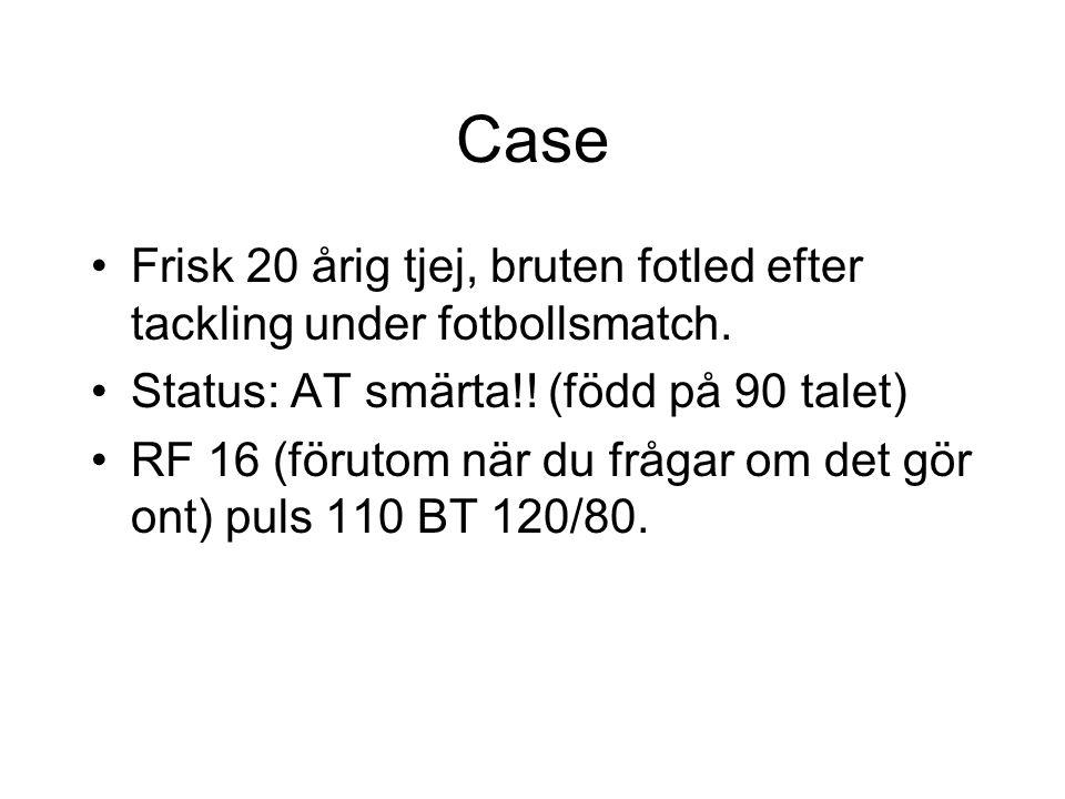 Case Frisk 20 årig tjej, bruten fotled efter tackling under fotbollsmatch. Status: AT smärta!! (född på 90 talet)