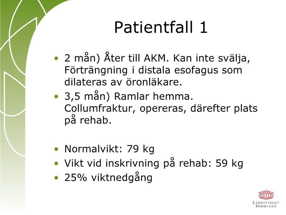 Patientfall 1 2 mån) Åter till AKM. Kan inte svälja, Förträngning i distala esofagus som dilateras av öronläkare.
