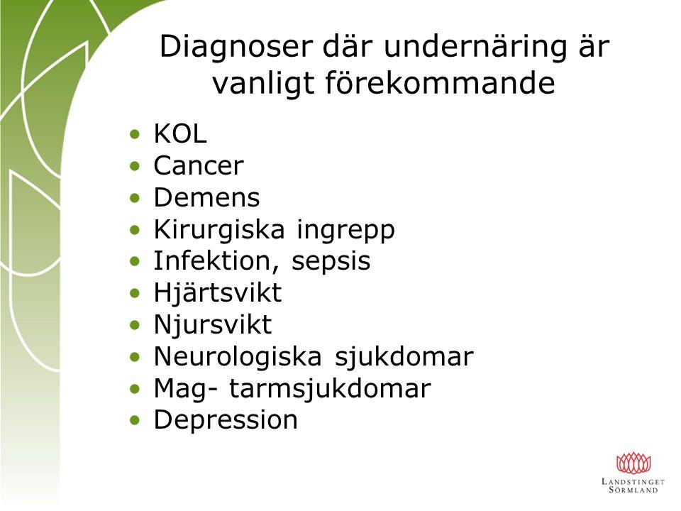 Diagnoser där undernäring är vanligt förekommande