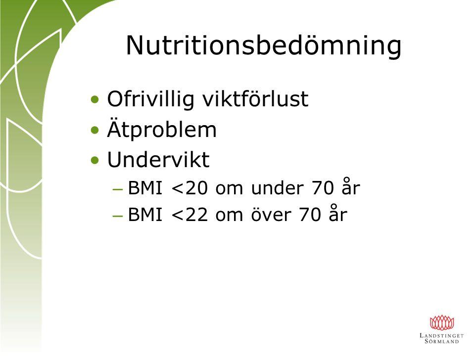 Nutritionsbedömning Ofrivillig viktförlust Ätproblem Undervikt