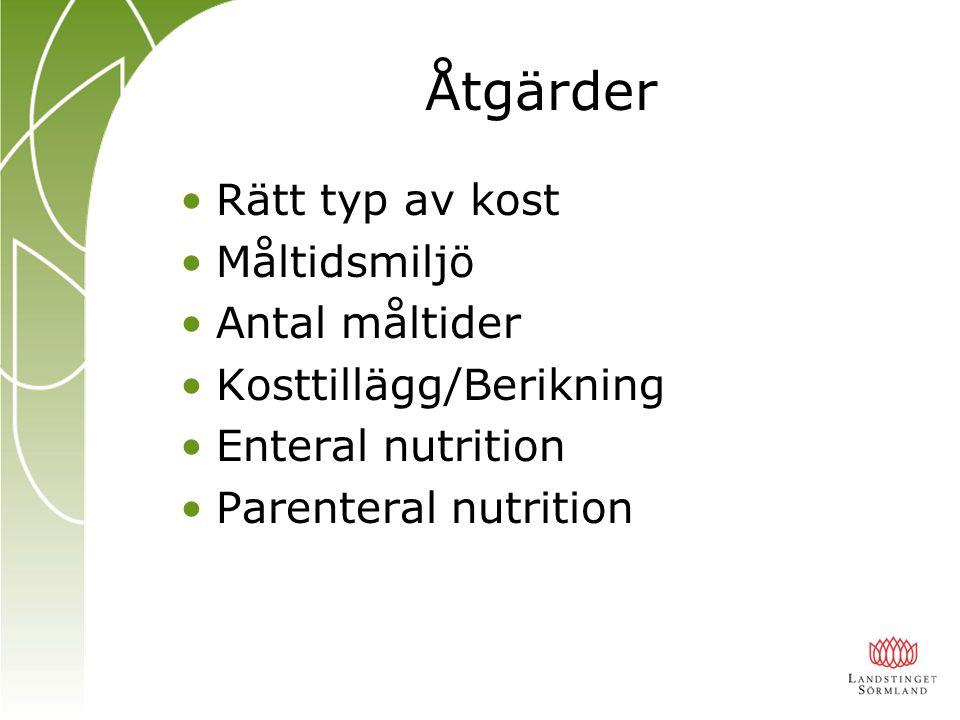 Åtgärder Rätt typ av kost Måltidsmiljö Antal måltider