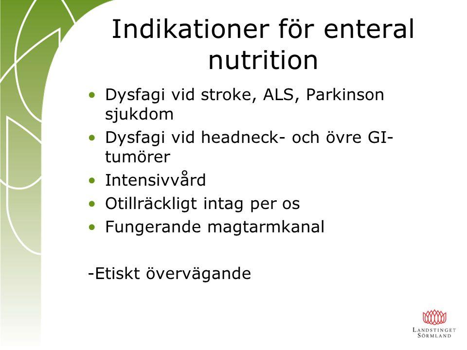 Indikationer för enteral nutrition