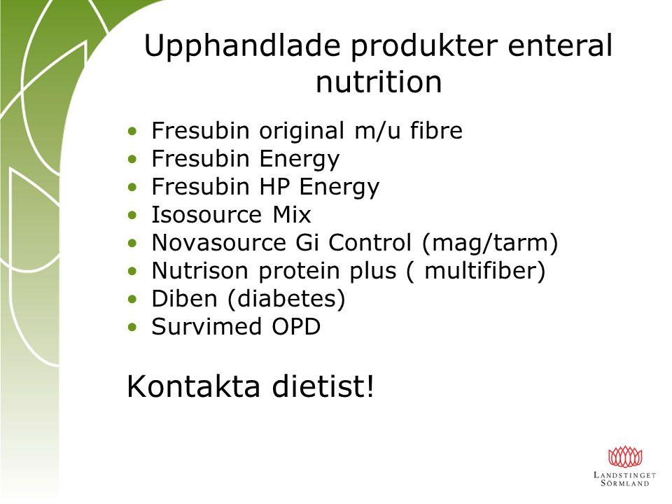 Upphandlade produkter enteral nutrition