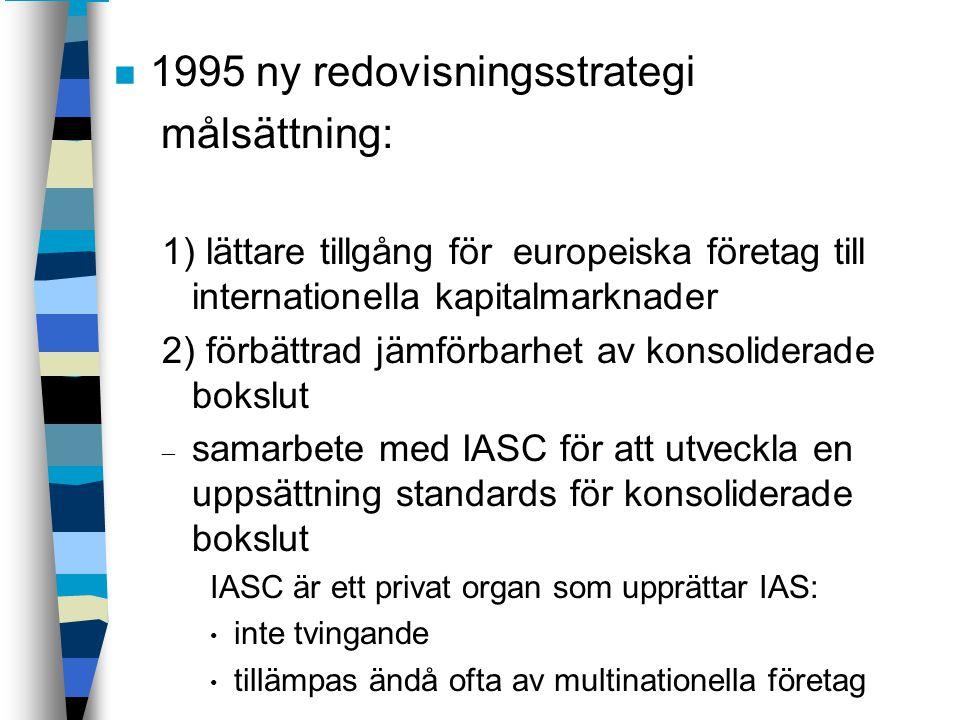 1995 ny redovisningsstrategi målsättning: