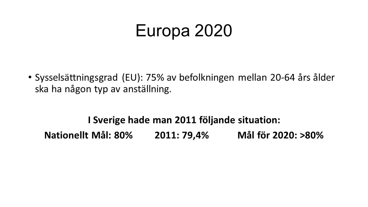 Europa 2020 Sysselsättningsgrad (EU): 75% av befolkningen mellan 20-64 års ålder ska ha någon typ av anställning.