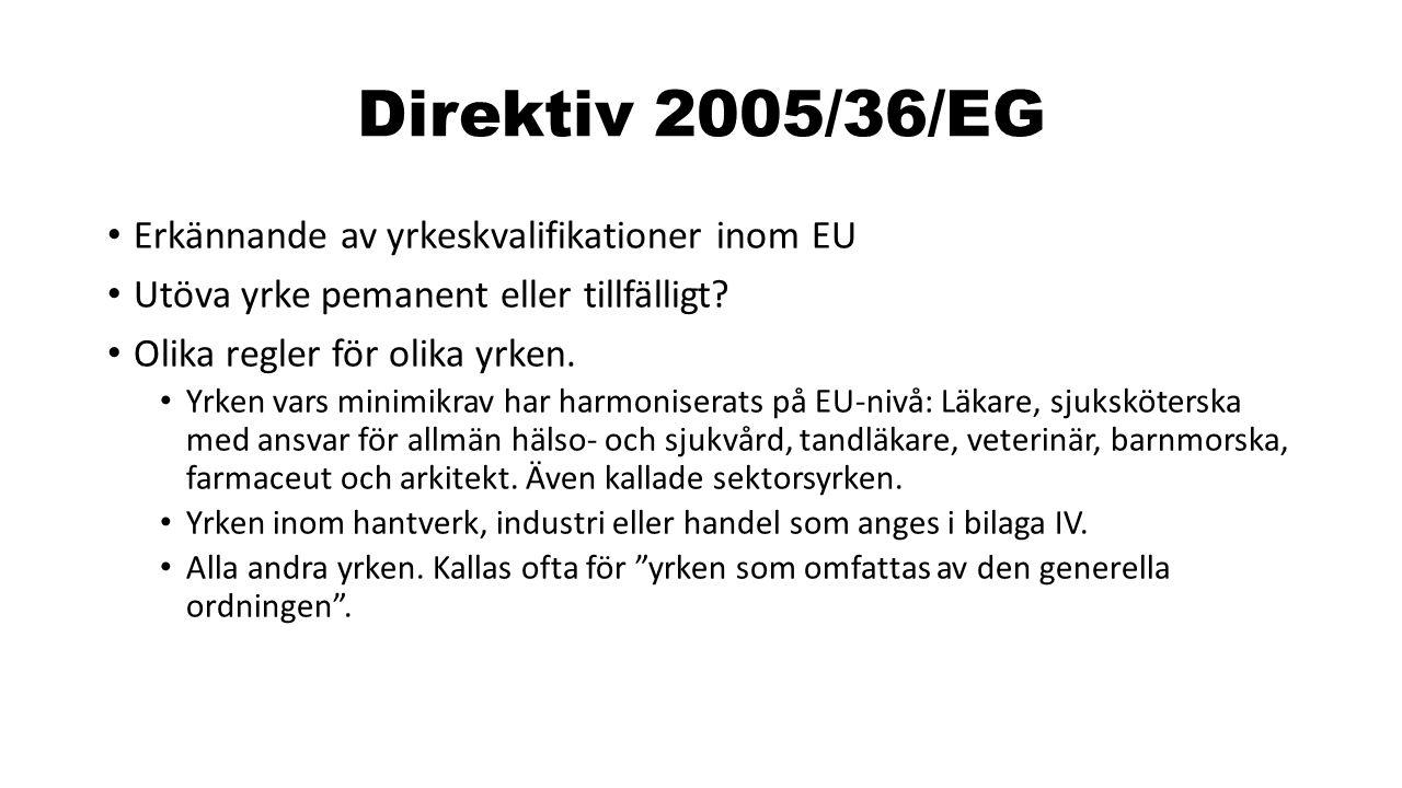 Direktiv 2005/36/EG Erkännande av yrkeskvalifikationer inom EU