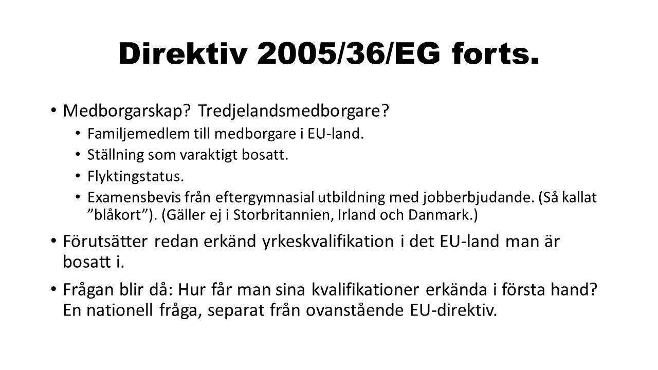Direktiv 2005/36/EG forts. Medborgarskap Tredjelandsmedborgare