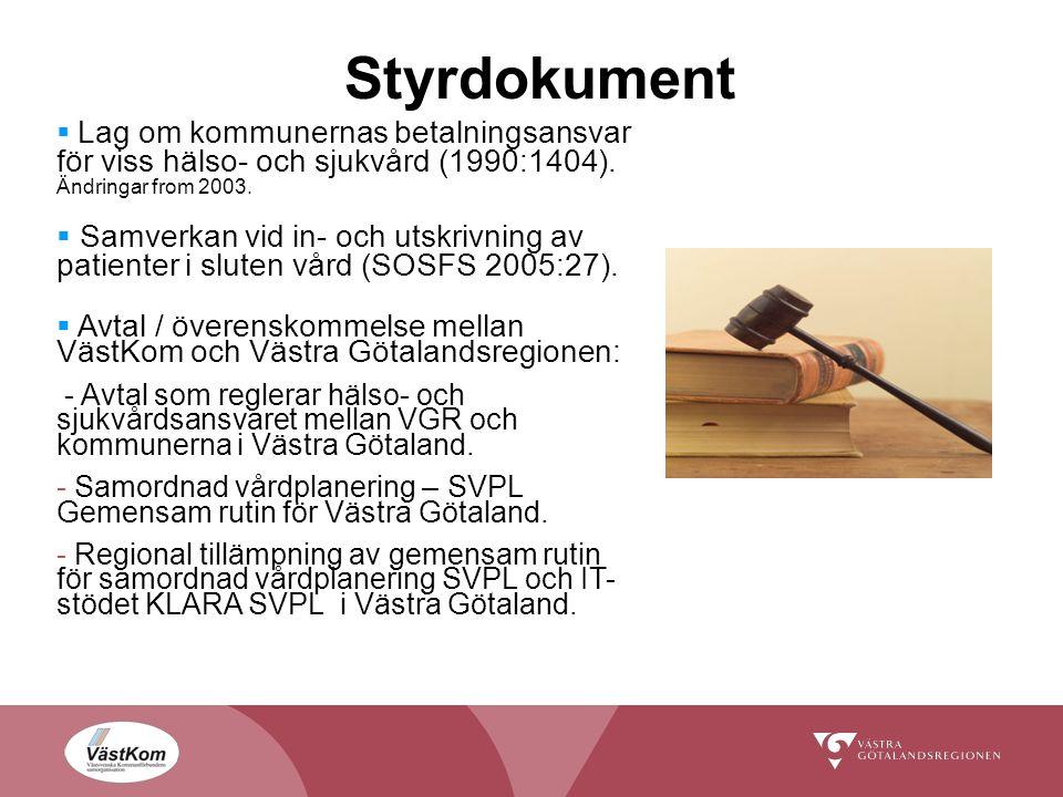 Styrdokument Lag om kommunernas betalningsansvar för viss hälso- och sjukvård (1990:1404). Ändringar from 2003.