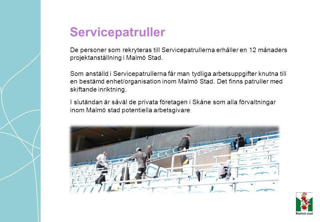 Servicepatruller De personer som rekryteras till Servicepatrullerna erhåller en 12 månaders projektanställning i Malmö Stad.