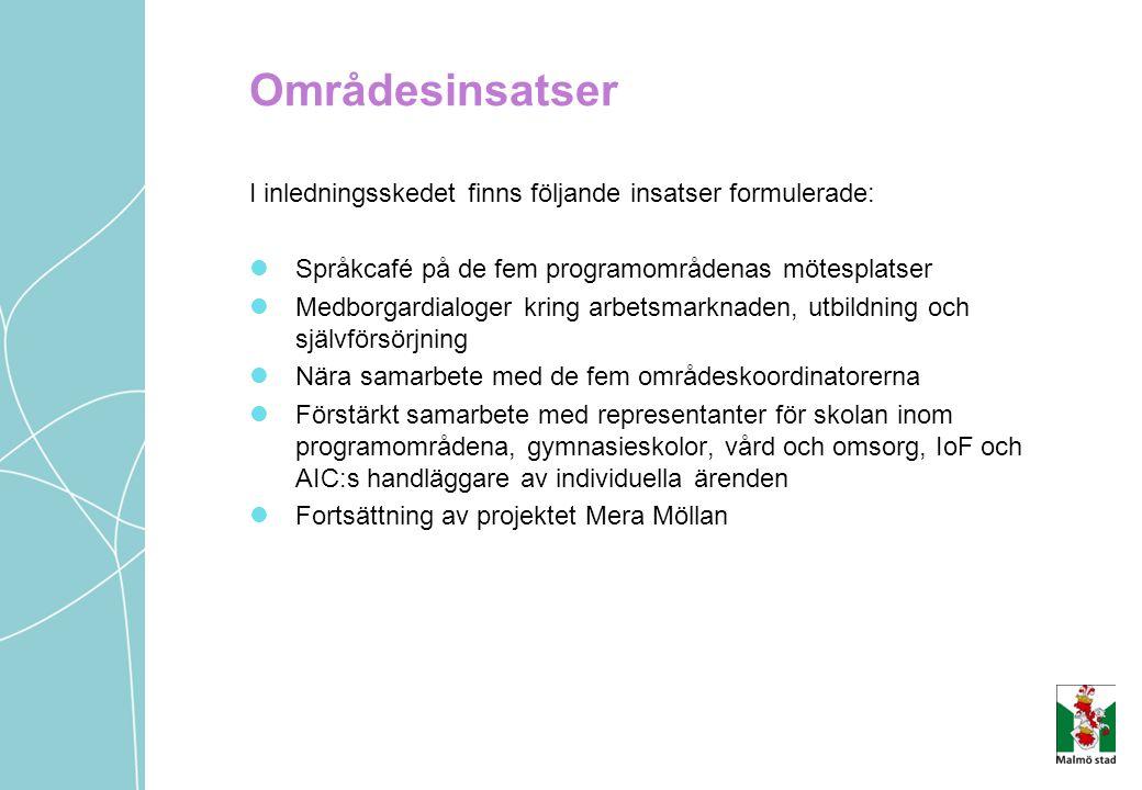 Områdesinsatser I inledningsskedet finns följande insatser formulerade: Språkcafé på de fem programområdenas mötesplatser.