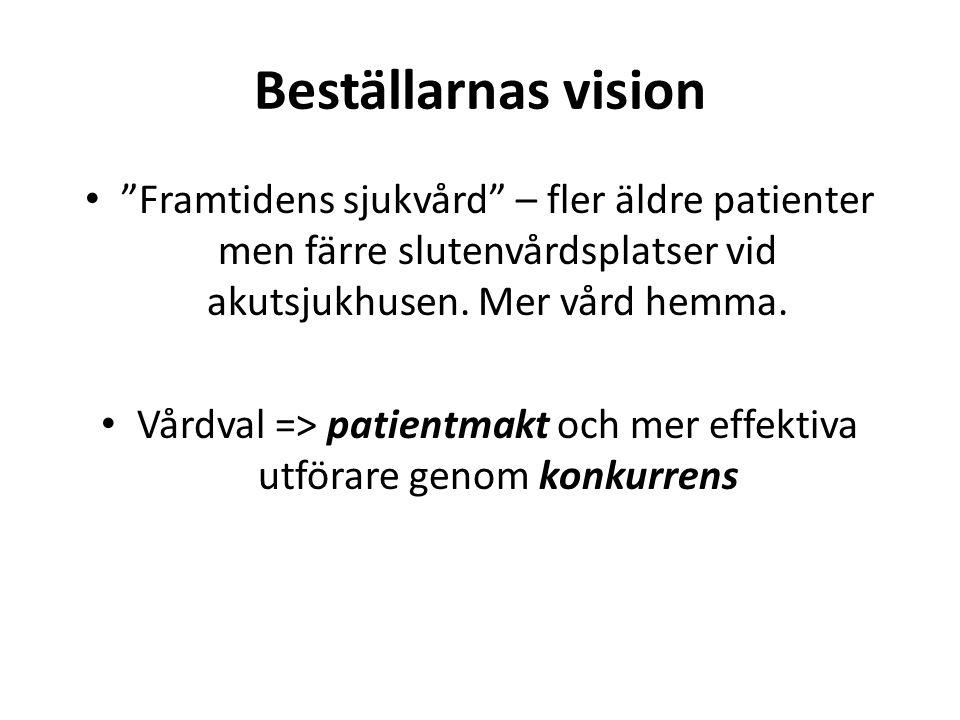 Vårdval => patientmakt och mer effektiva utförare genom konkurrens