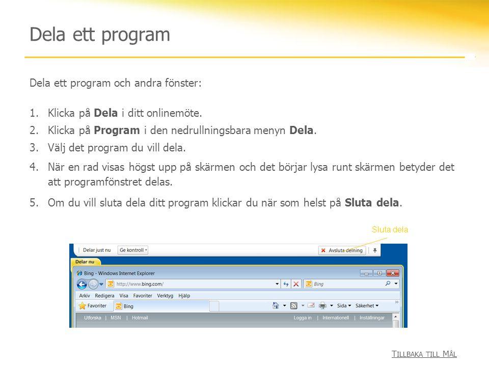 Dela ett program Dela ett program och andra fönster: