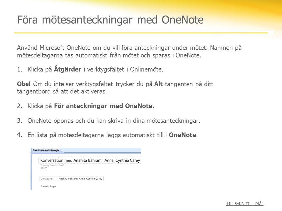 Föra mötesanteckningar med OneNote
