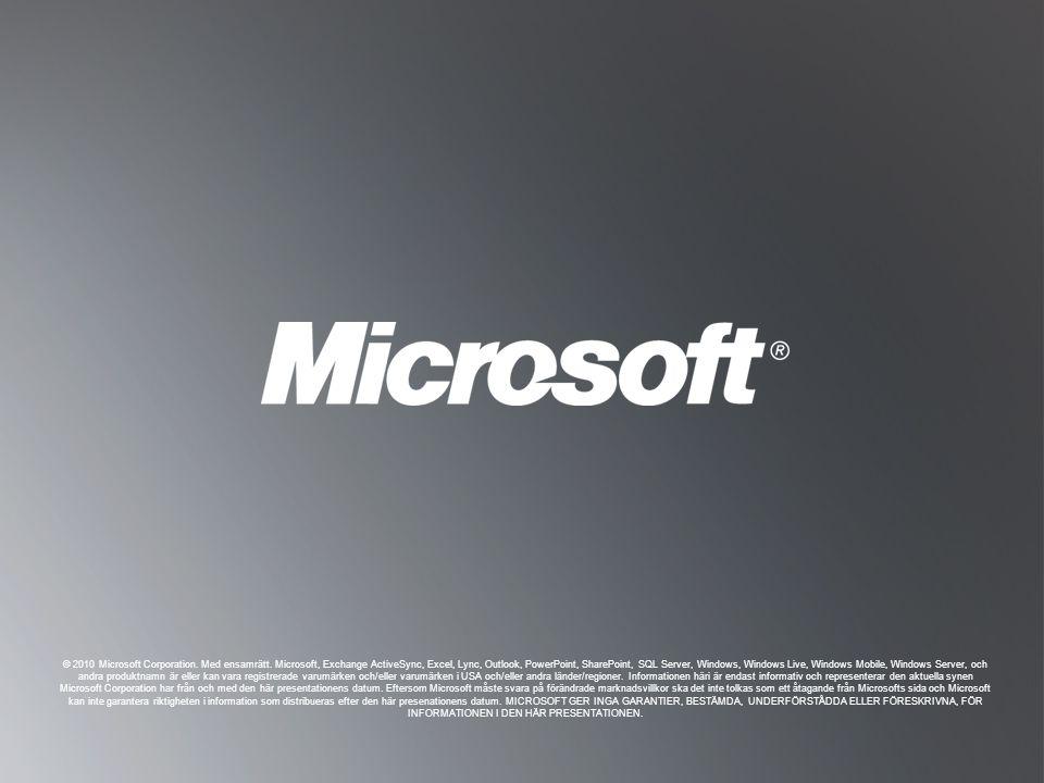 © 2010 Microsoft Corporation. Med ensamrätt