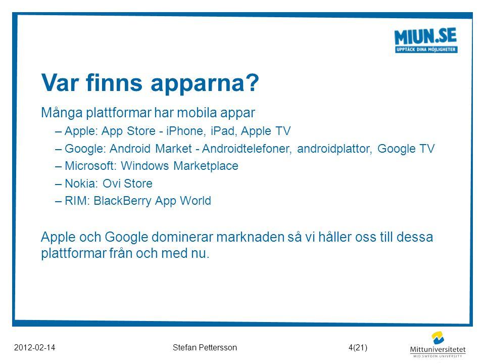Var finns apparna Många plattformar har mobila appar