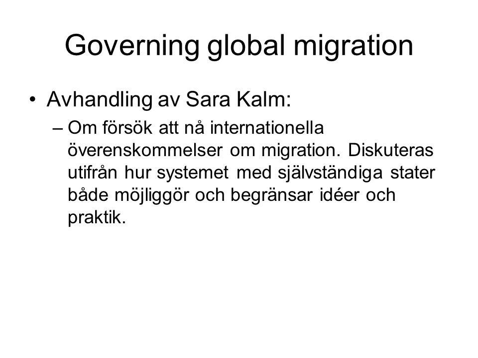 Governing global migration
