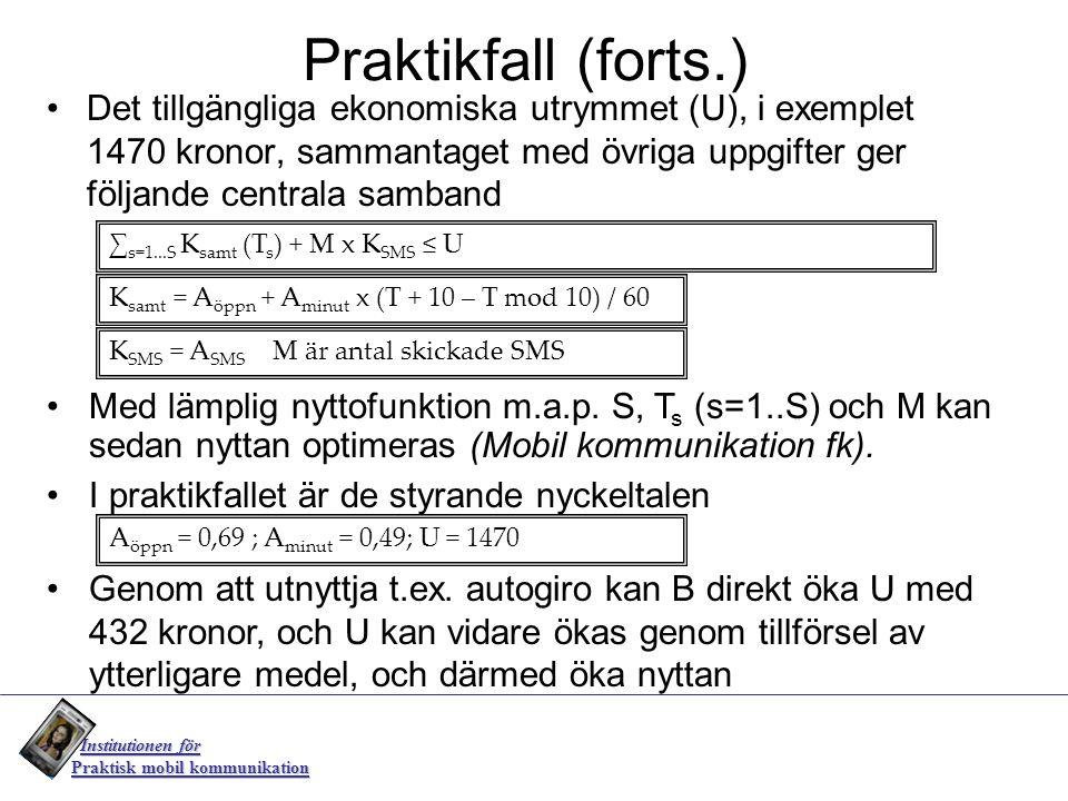 Praktikfall (forts.) Det tillgängliga ekonomiska utrymmet (U), i exemplet 1470 kronor, sammantaget med övriga uppgifter ger följande centrala samband.