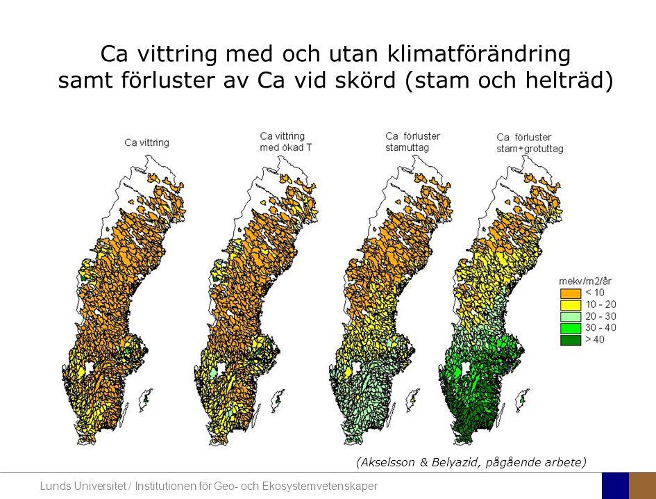 Ca vittring med och utan klimatförändring samt förluster av Ca vid skörd (stam och helträd)