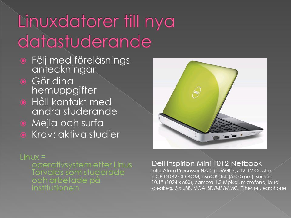 Linuxdatorer till nya datastuderande