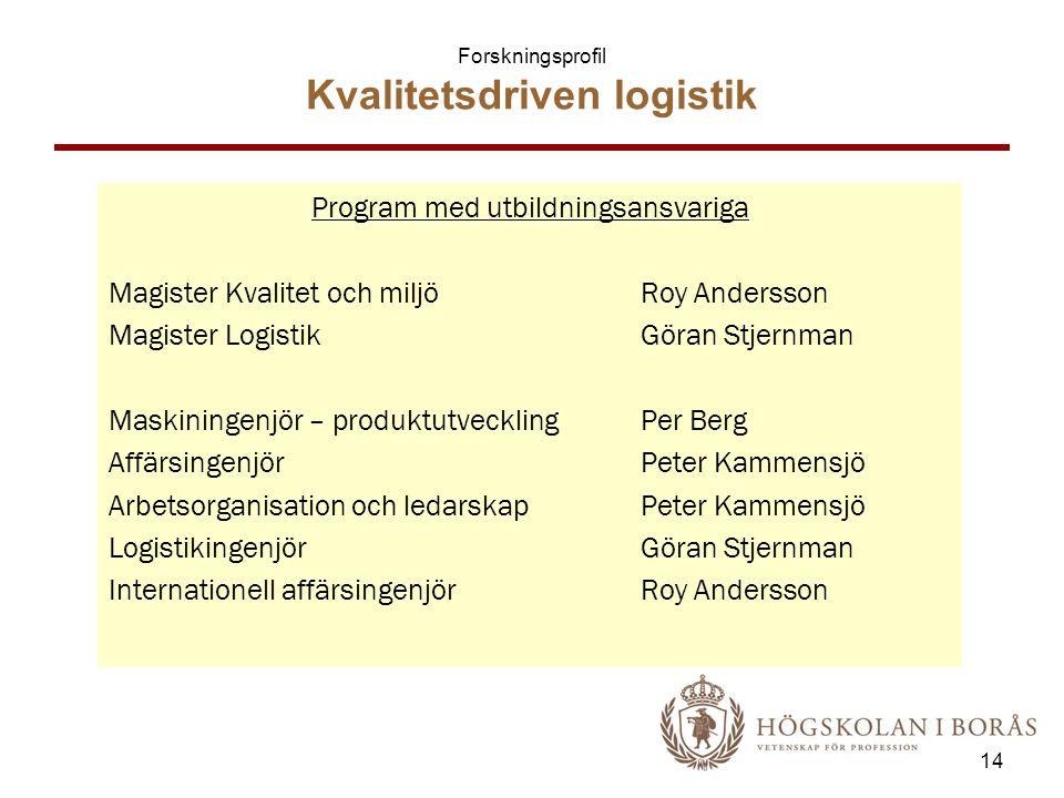 Forskningsprofil Kvalitetsdriven logistik