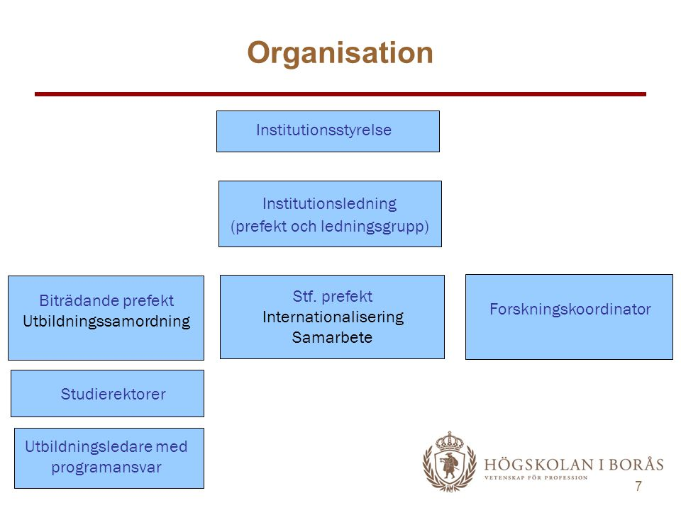 Organisation Institutionsstyrelse Institutionsledning