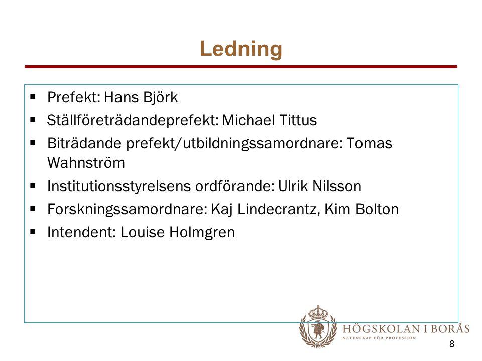 Ledning Prefekt: Hans Björk Ställföreträdandeprefekt: Michael Tittus