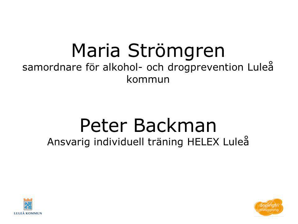 Peter Backman Ansvarig individuell träning HELEX Luleå
