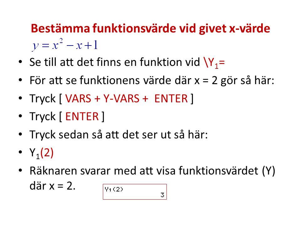 Bestämma funktionsvärde vid givet x-värde