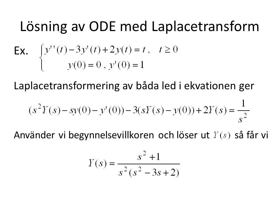 Lösning av ODE med Laplacetransform