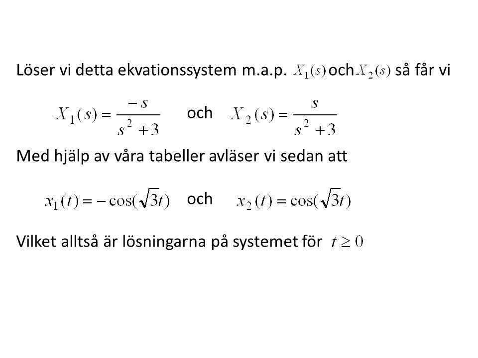 Löser vi detta ekvationssystem m.a.p. och så får vi