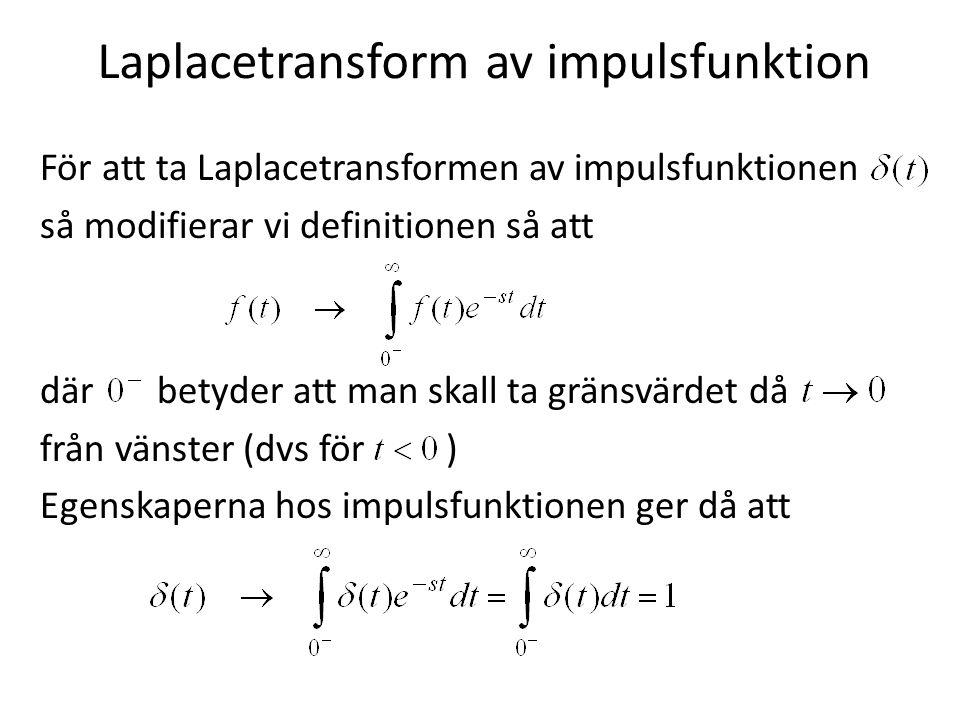 Laplacetransform av impulsfunktion