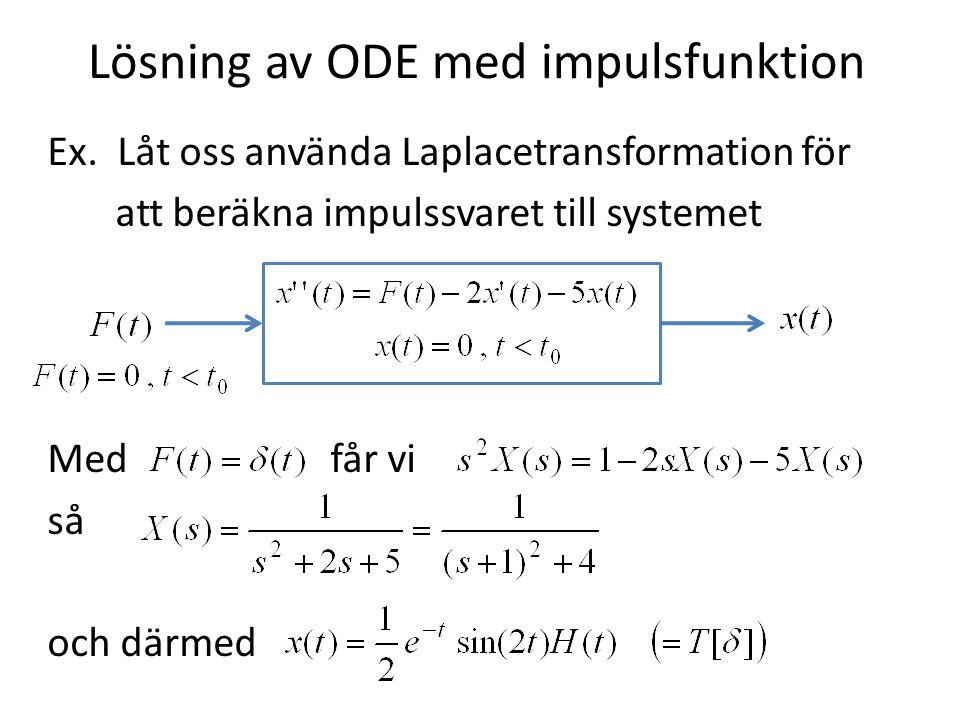 Lösning av ODE med impulsfunktion