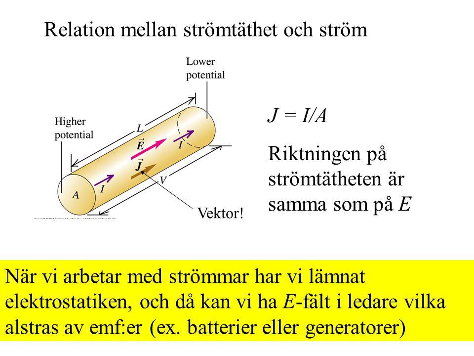 Relation mellan strömtäthet och ström