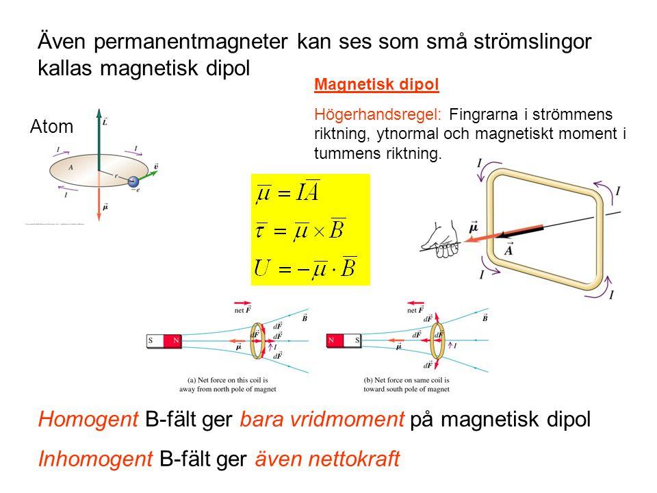 Homogent B-fält ger bara vridmoment på magnetisk dipol