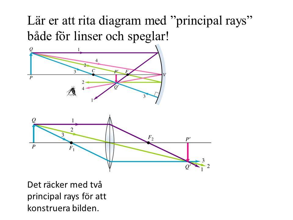 Lär er att rita diagram med principal rays både för linser och speglar!