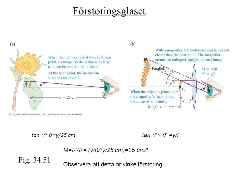 Förstoringsglaset Fig. 34.51 tan q~ q =y/25 cm tan q´~ q´ =y/f
