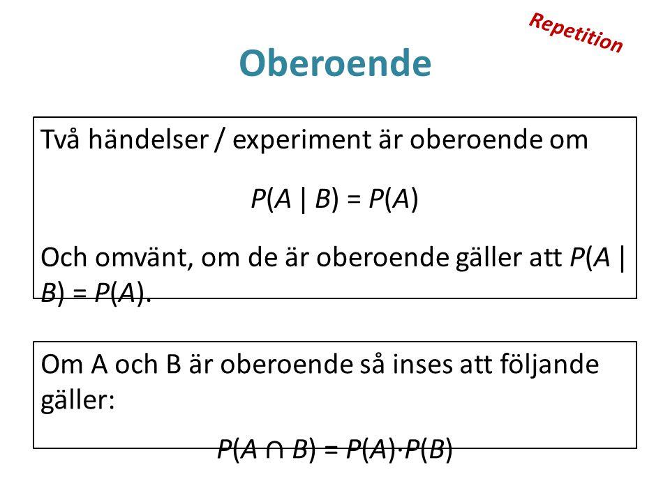 Repetition Oberoende. Två händelser / experiment är oberoende om P(A | B) = P(A) Och omvänt, om de är oberoende gäller att P(A | B) = P(A).