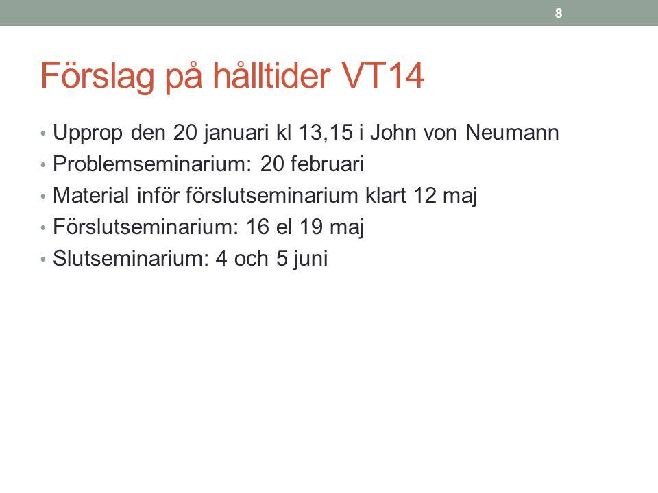 Förslag på hålltider VT14
