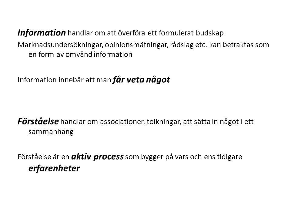 Information handlar om att överföra ett formulerat budskap