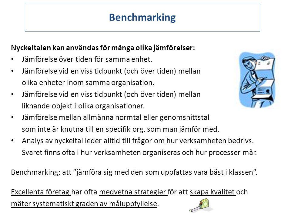 Benchmarking Nyckeltalen kan användas för många olika jämförelser: