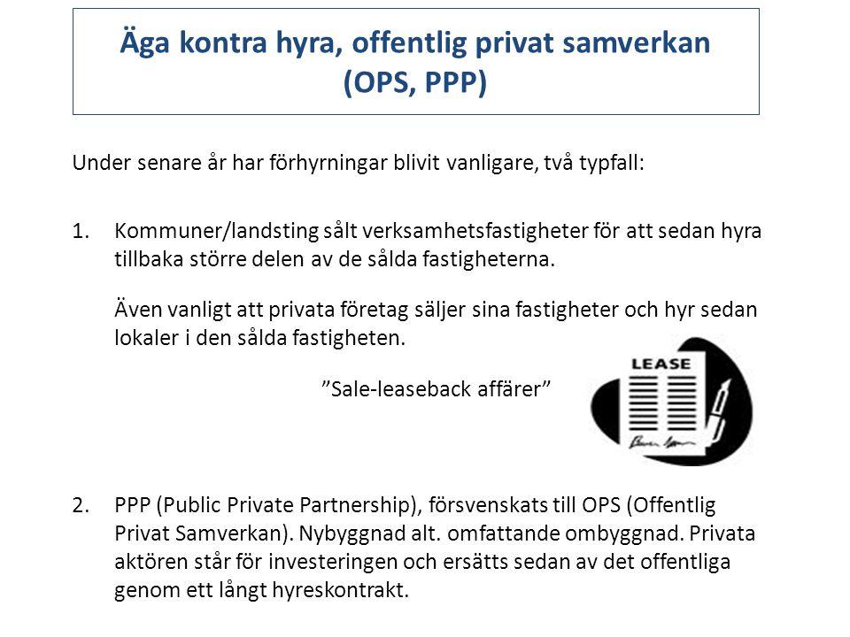 Äga kontra hyra, offentlig privat samverkan (OPS, PPP)