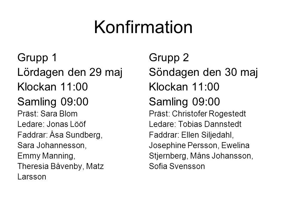 Konfirmation Grupp 1 Lördagen den 29 maj Klockan 11:00 Samling 09:00