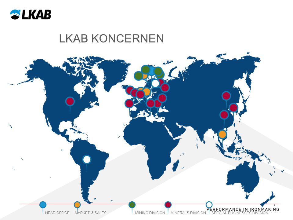 LKAB koncernen HEAD OFFICE MARKET & SALES MINING DIVISION MINERALS DIVISION SPECIAL BUSINESSES DIVISION.