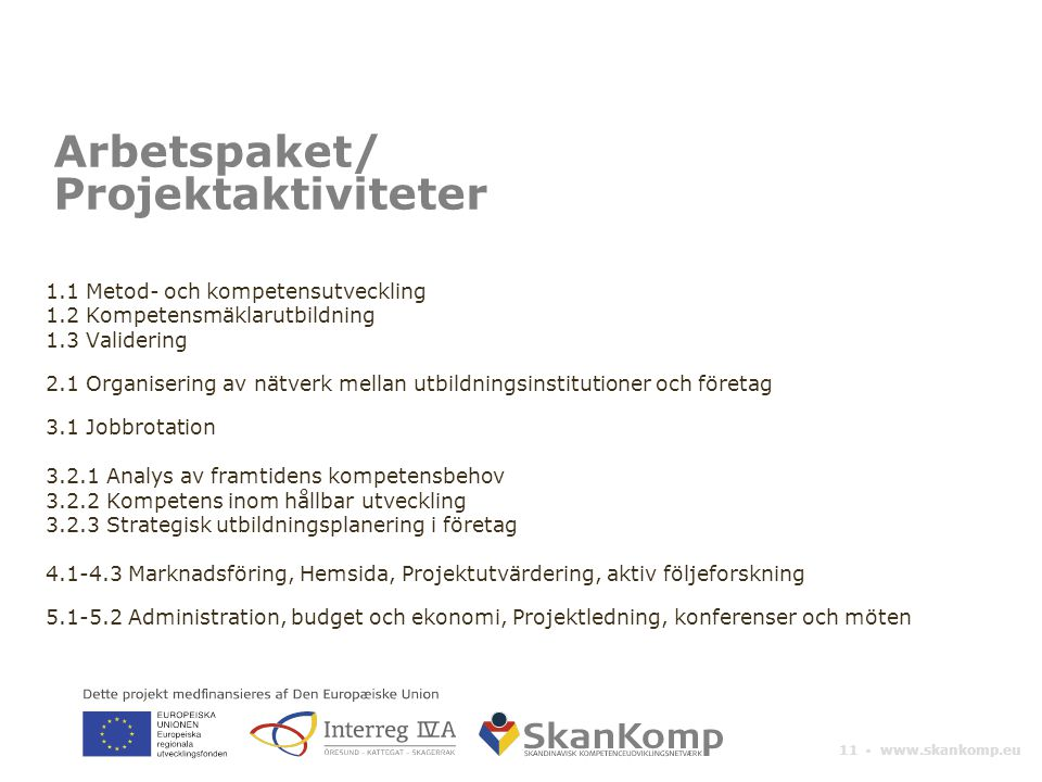 Arbetspaket/ Projektaktiviteter