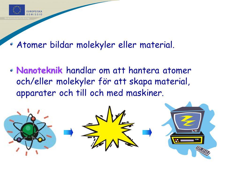 Atomer bildar molekyler eller material.