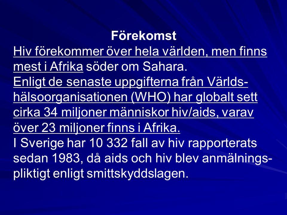 Förekomst Hiv förekommer över hela världen, men finns mest i Afrika söder om Sahara.